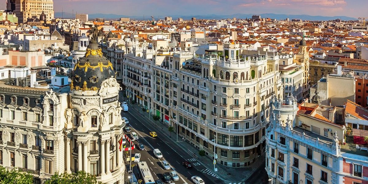 View over one of the busiest streets in Madrid.