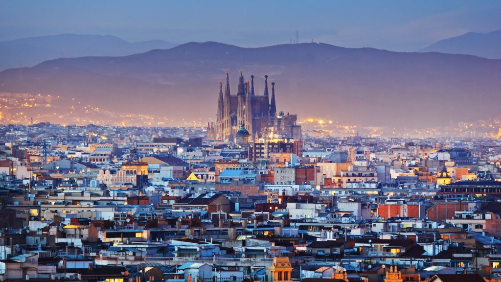 The city of Barcelona breathtaking view.